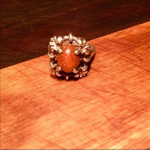Vintage Sterling Silver and Goldstone Ring